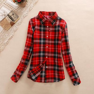 15 color Women's Shirt  long-sleeve autumn 2015 women's outerwear thickening 100% cotton slim Women plaid shirt clothing female(China (Mainland))