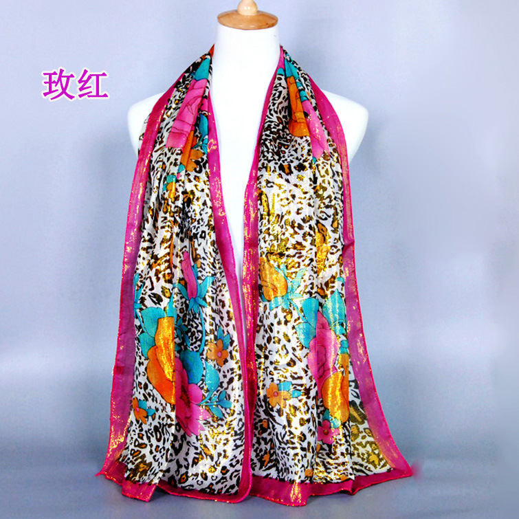 2015 new brand gold silk scarf popular shiny leopard scarf
