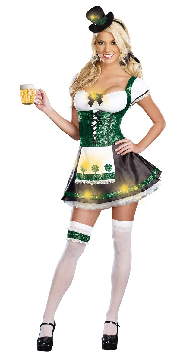 Halloween costumes adult Free Shipping St Patricks Day Outfit 3S1562 sexy Irish girl costume(China (Mainland))