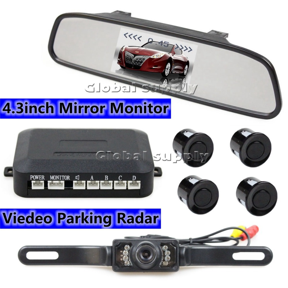 "New 4.3""Inch Built-in LCD Monitor Rear View Mirror Rear View Mirror Kit + 4 Parking Sensors(China (Mainland))"