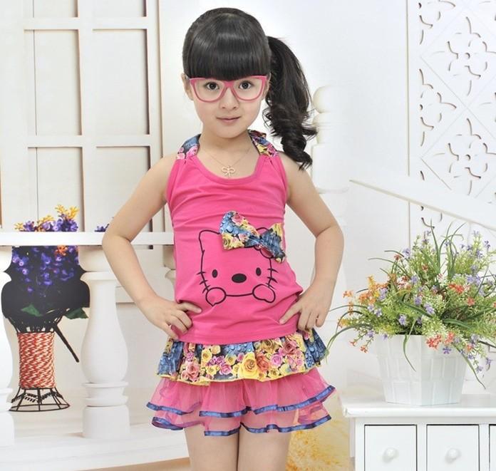 BC Retail Children's Clothing Girls Clothing Sets Hello Kitty Vest & Flower Skirt 2 pcs Set Kids Summer Clothes(China (Mainland))