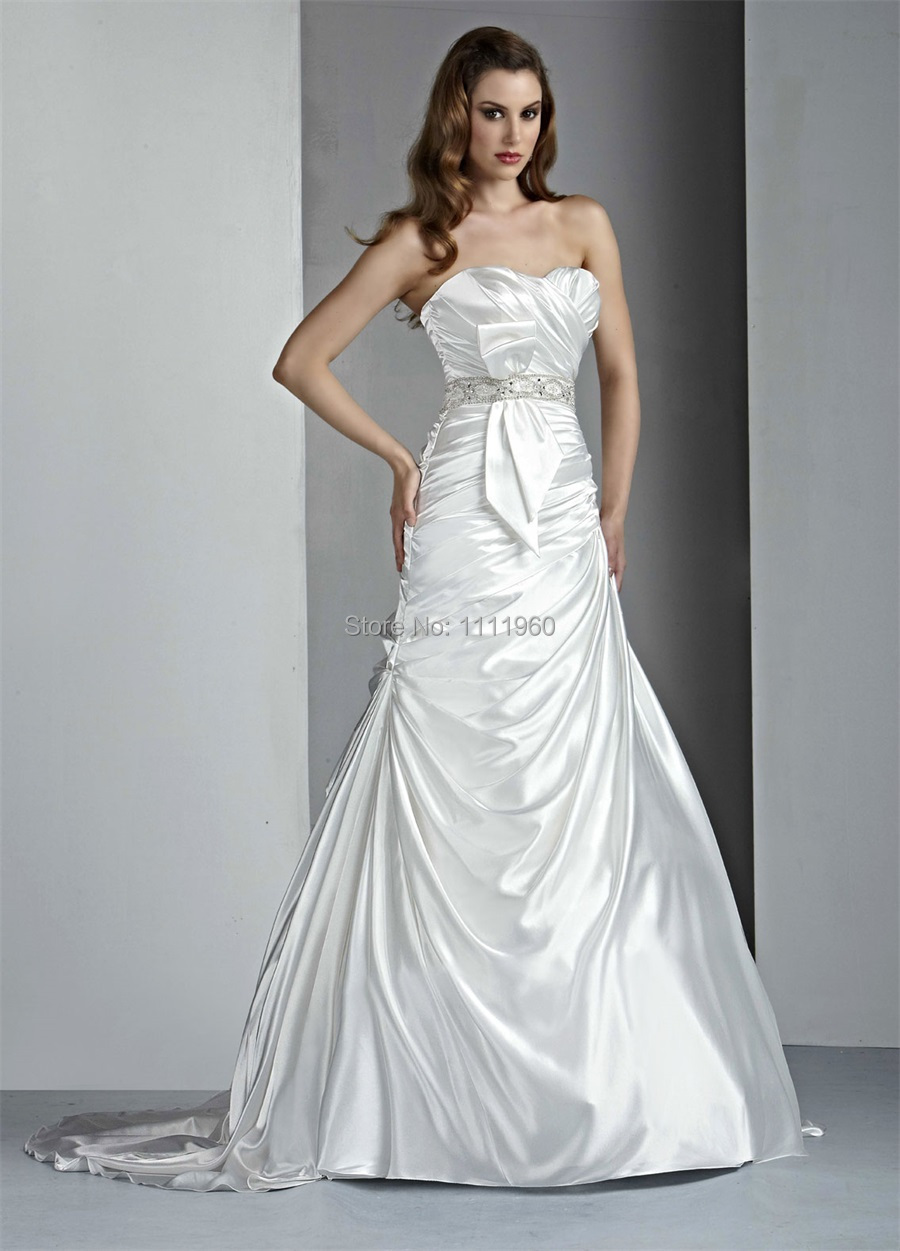 Silver Wedding Dress With Crystal Beaded Sashes Sweetheart