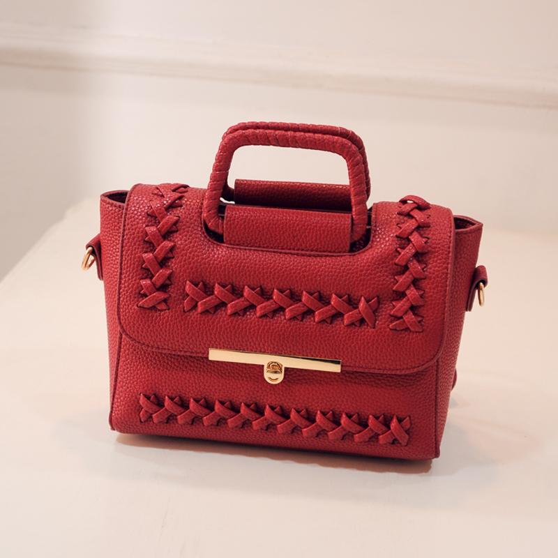 2016 hot design versatile women's handbags,PU leather weaven doctor bags,hollow out new lock shoulder bags
