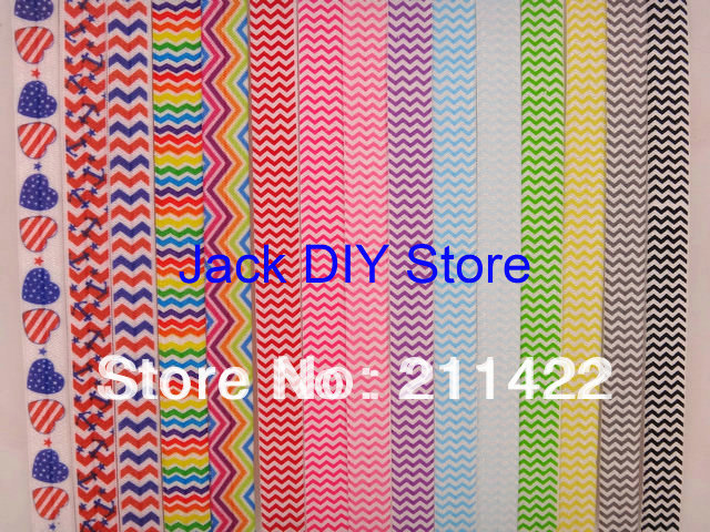 Custom Link Rainbow Chevron Polka Dot FOE Fold Over Elastic 50 Yards/roll 1.5cm width headband Hair Accessories Free Shipping