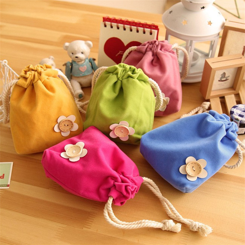 Creative Home Pure and Fresh and Lovely Flower Smoked Pull Beam Pockets Candy Color Pocket Change Purse Storage Bags(China (Mainland))