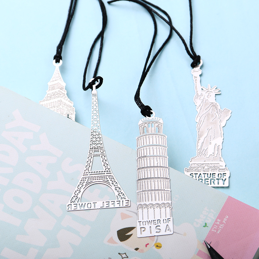 1 PCS London Eiffel Tower Statue of Liberty Book Markers Metal Bookmark for Stationery Books Office Supplies(China (Mainland))