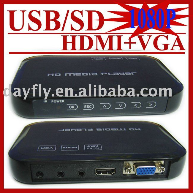 Gift&Free Shipping!HD601 USB Full HD 1080P HDD Media Player HDMI VGA MKV H.264 SD,Retail,Sample,Drop Shipping(Hong Kong)