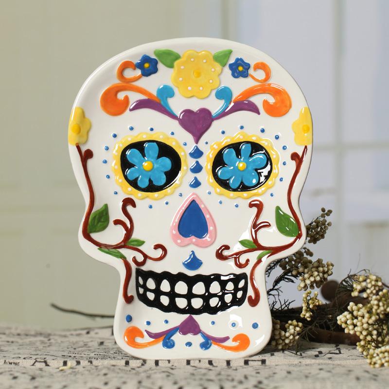 Skull Shape dish ceramic dessert plate/fruit plate/cake pan/candy dish/jewelry tray Halloween decoration plate/Easter decoration(China (Mainland))