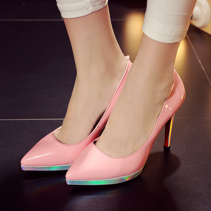Shoe'N Tale women sexy pumps 2016 spring new dress shoes for women red bottom pointed toe thin high heels zapatos mujer