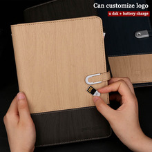 BK-186 agenda pu leather notebook paper business U disk notepad planner card position office supplies filofax with power bank