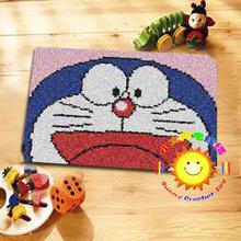doraemon Hook Rug Kit DIY Unfinished Crocheting Yarn Mat Latch Hook Rug Kit Floor Mat Santa Claus Picture Carpet Set