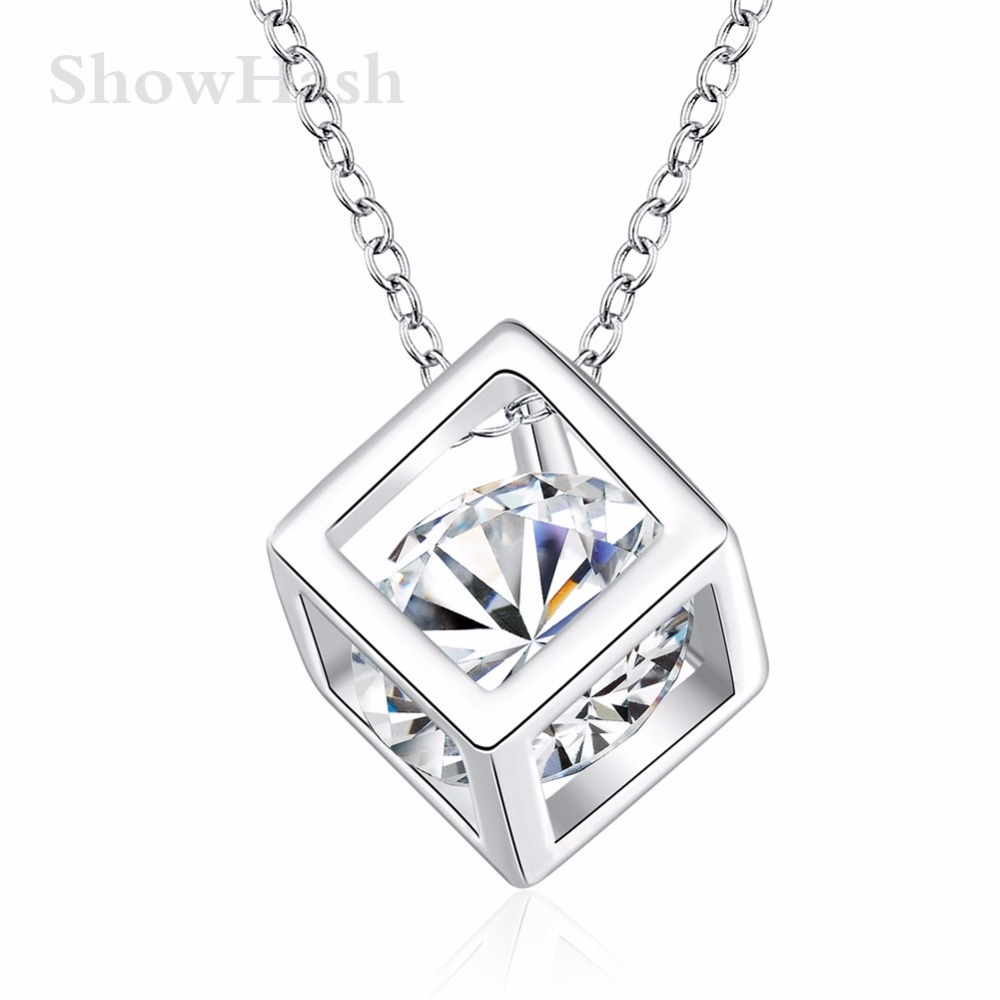 Silver plated trendy style pendant necklaces cheap beautiful square shape women gifts valentine gift new fashion SHNE0124(China (Mainland))