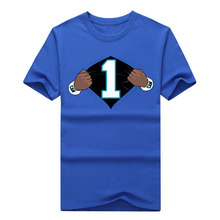 2016 Super Cam Newton #1 Football Cheering Fans Live Audience brand futbol Jersey Short Sleeve T Shirt Man Casual football(China (Mainland))
