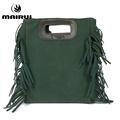 Fashion Tassel Bucket Bag Female Shoulder Crossbody Bags for Women Large Designer Vintage Nubuck PU Leather