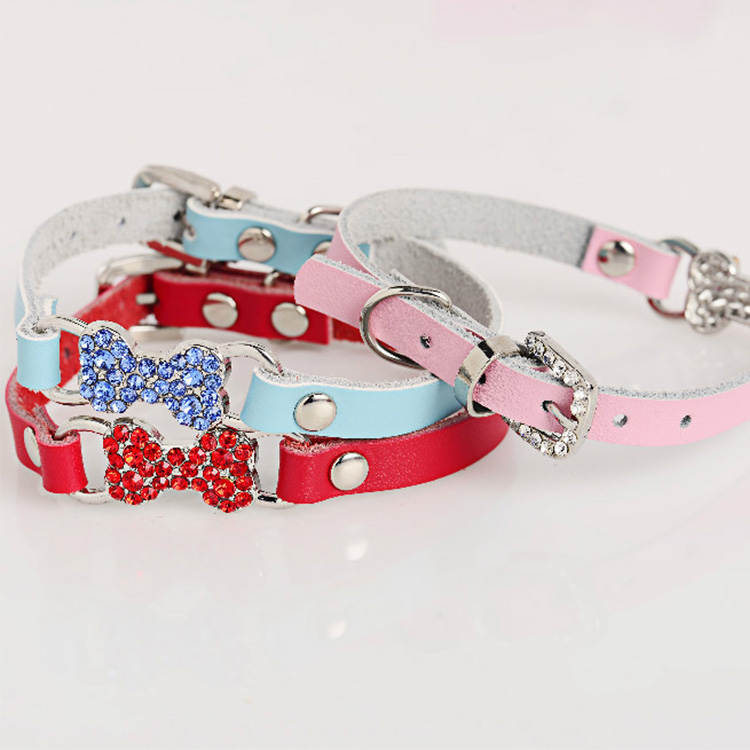 Genuine Leather Collar Dog Pet Cat Luxury Rhinestone Diamond Collar Bling Dog Bone Chihuahua Small Dog Collar Necklace Pendant(China (Mainland))