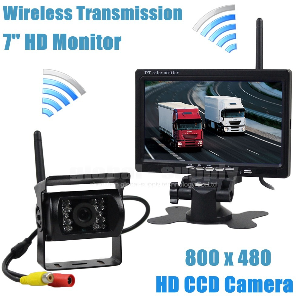 Wireless Transmission HD 800 x 480 7inch Car Monitor IR CCD Rear View Backup Camera For Car Bus Truck Caravan Trailer RV(China (Mainland))