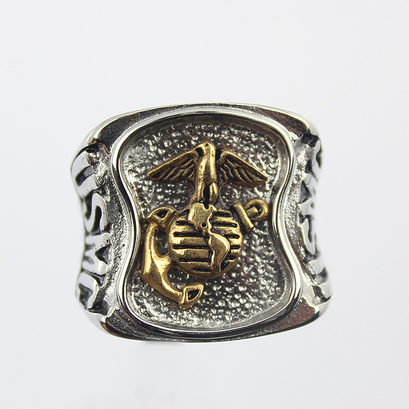 US Marines Insignia Ring Silver Colored Marine Corps Veteran Ring Gold plating Military Collectibles ring(China (Mainland))