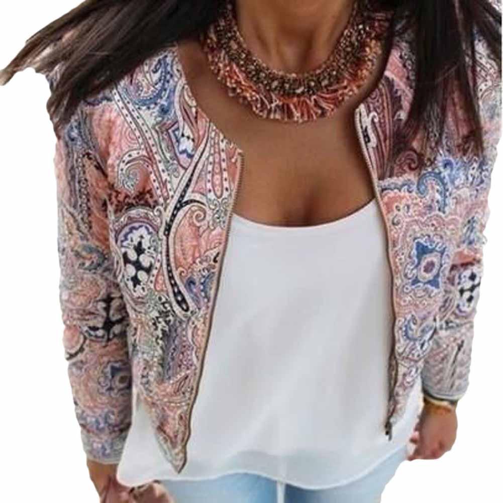 2015 Slim Autumn Women Basic Jackets O-neck Paragraph Vintage Solid Printed Outwear Simple Zipper Casaco Feminino Coats 9569(China (Mainland))