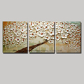 Modern blossom tree acrylic 3 panel flower acrylic oil knife painting abstract canvas art picture oil