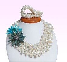 70% OFF! White coral beads  Blue & dark green shell flower!(China (Mainland))