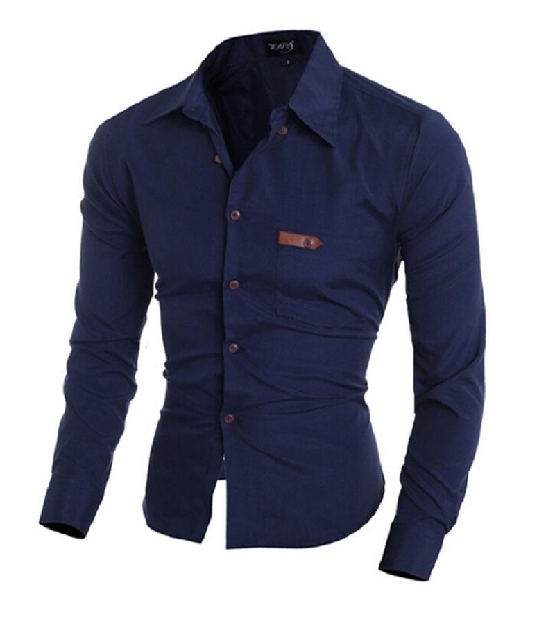 2016 New Fashion Casual Men Shirt Long Sleeve Stand Color Slim Fit Shirt Men Dress Shirts Men Clothes(China (Mainland))