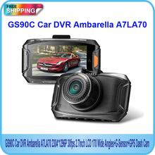 Free Shipping!! Oringinal GS90C Car DVR Ambarella A7LA70 2304*1296P 30fps 2.7Inch LCD 170 Wide Angles+G-Sensor+GPS Dash Cam(China (Mainland))