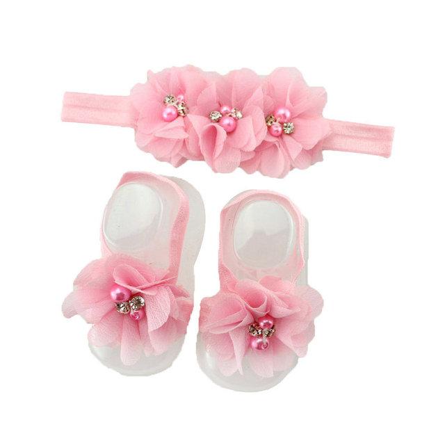 1 комплект горный хрусталь жемчуг цветок младенческой младенцы повязка на голову ...