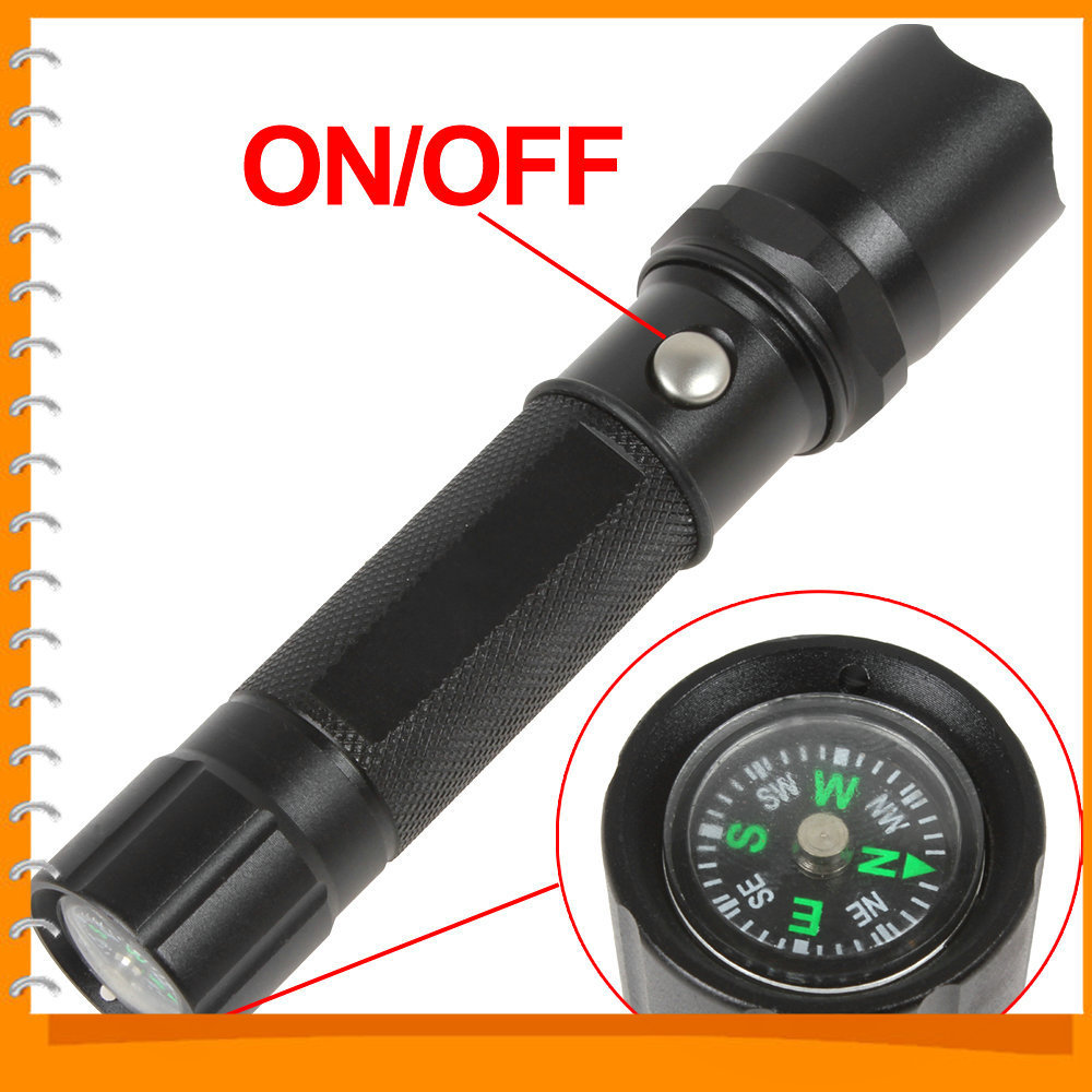 Portable 1000LM Cree XPE LED Flashlight Torch 3 Modes Aluminum LED Flash Light with Compass + Lanyard<br><br>Aliexpress