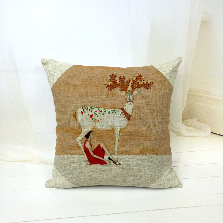 Housse De Coussin Scandinavian Retro Vintage Deer Girl Decorative Pillows Kussens Home Decor Cushion Cuscini Cojin Almofada Pouf