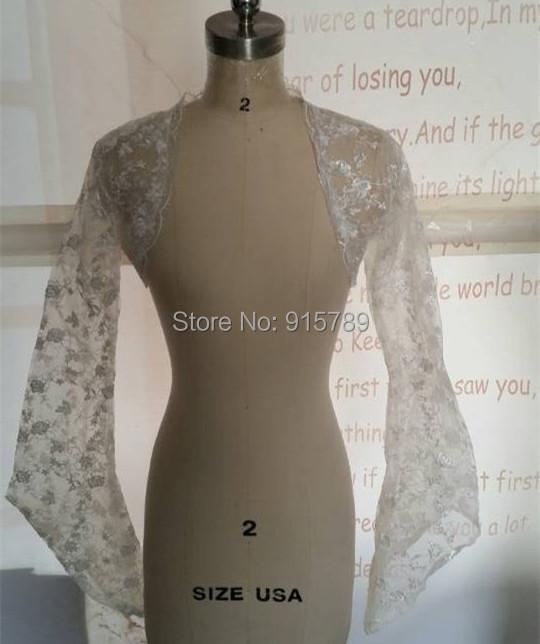 100% Real Photos White Ivory Bridal Wedding Bolero Jacket Wrap Shawl Cape Lace Edge Full Sleeves - Manweisi Dress Trading Ltd store