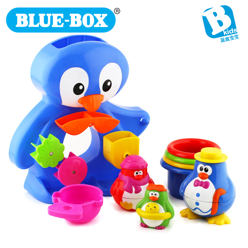 Child day gift blue box baby bath toy penguin set 003199(China (Mainland))