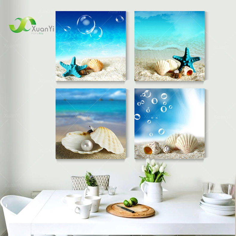 Buy 4 panel modern printed blue beach seascapes paintings wall art home decor - Wall paintings for home decoration ...