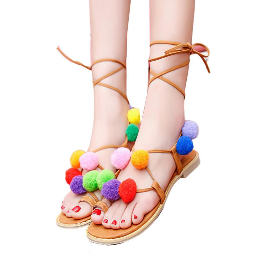 Hoe Sale Fashion Pom Pom New Designer Women Leather Sandals Lollipop Colorful Beaded Shells Sandals(China (Mainland))