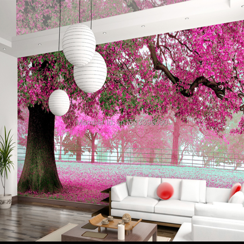 3d mural rustictv background bedroom wall wallpaper cherry for Scenery wallpaper for bedroom