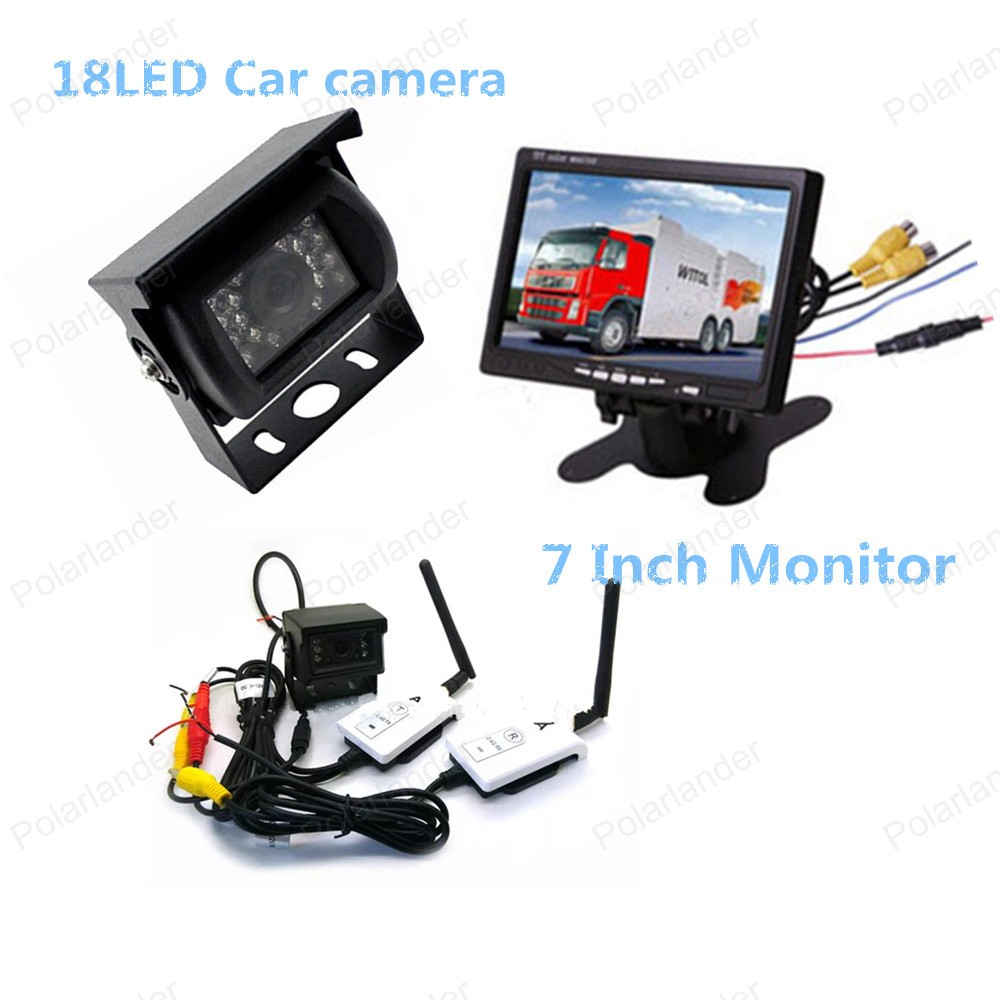 Фотография   7 Inch TFT LCD Color Display Screen Car Rear View Monitor for car reversing parking with 18 LED rearviwe camera