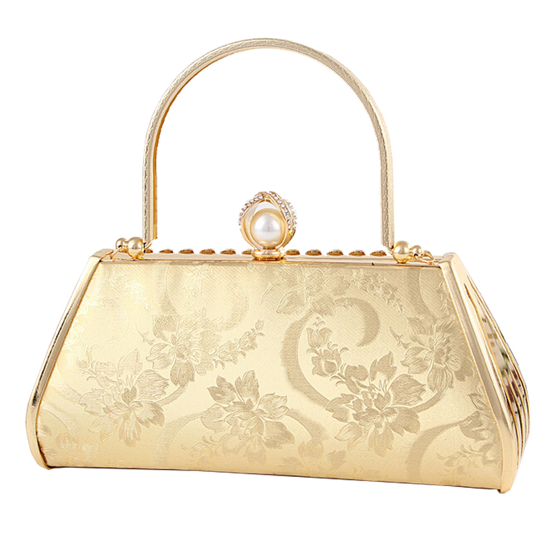2016 Womens love Ladies' Fake leather Diamound embedded women's Golden Peony Flower Design handbag Evening Bag Tote clutch 38.9(China (Mainland))