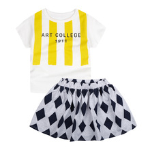 Girls Clothes Kids Set Fashion Bobo Choses Yellow Stripe T shirt + Rhombus Skirt Set for Kids Girls Summer Set Children Clothing