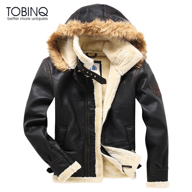 Tobinq winter men s leather coat thickening male one piece plus velvet fur leather clothing pilot