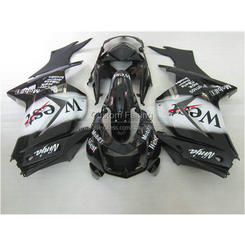 Injection mold plastic Fairing kit Kawasaki ninja 250r 2008-2014 EX250 08 09 10 11 12 13 14 white black West fairings RR21