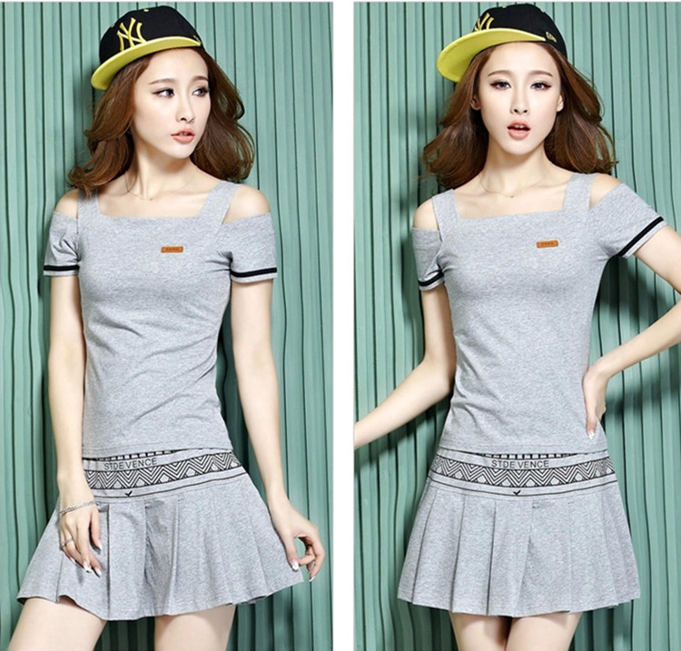 Grey tennis sets Fashion girl shirt Cute leisure short skirt Professional clothing wear Women sportwear(China (Mainland))