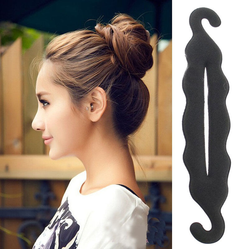 24cm Hight Quality Women Magic Foam Sponge Hairdisk Hair Device Donut Black Quick Messy Bun Updo Headwear Hair Accessories(China (Mainland))