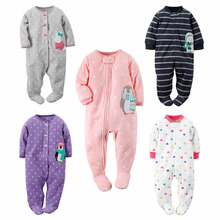 Newborn baby pajamas baby boys clothes with foot cover fleece clothes spring cartoon baby girl clothes