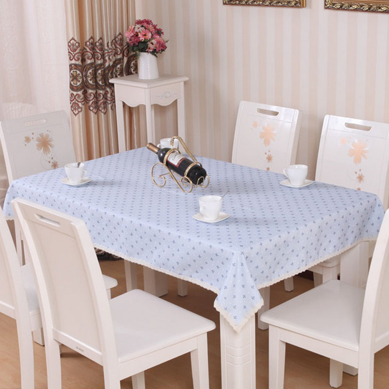 Linen Tablecloth For Round Tables Manteles Individuales Party Table Cover Banquet Table Skirts Mediterranean Style Blue Anchor(China (Mainland))