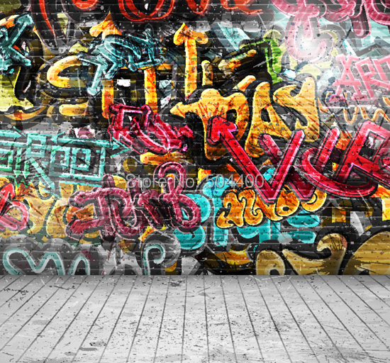 5X10ft vinyl backdrop photography background graffiti wall backdrop XT-2399(China (Mainland))