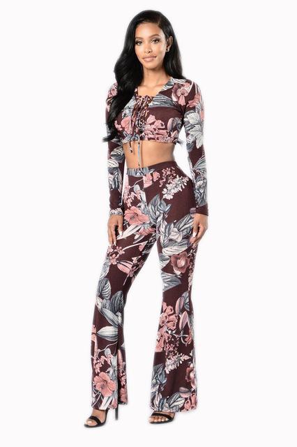 Лето двух частей цветочным принтом flare брюки женщины комбинезон macacao feminino повседневная комбинезон ползунки растениеводство top sexy комбинезон