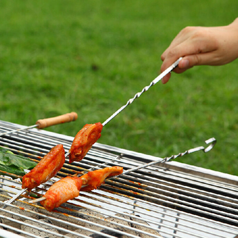 10PCS 38CM Food Camping Picnic vegetable Needle BBQ Barbecue Stainless Steel Grilling Kabob Kebab Flat Skewers(China (Mainland))