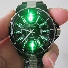 New Black/white steel LED light Women Men boys Quartz Sport Band Wrist Watch Jewelry & Watches Fashion Accessories