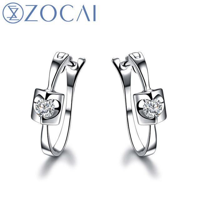 ZOCAI TRENDY ANGEL'S KISS 0.10 CT NATURAL DIAMOND LEVERBACK HOOP EARRINGS EARRING JEWELRY ROUND CUT 18K WHITE GOLD E00899