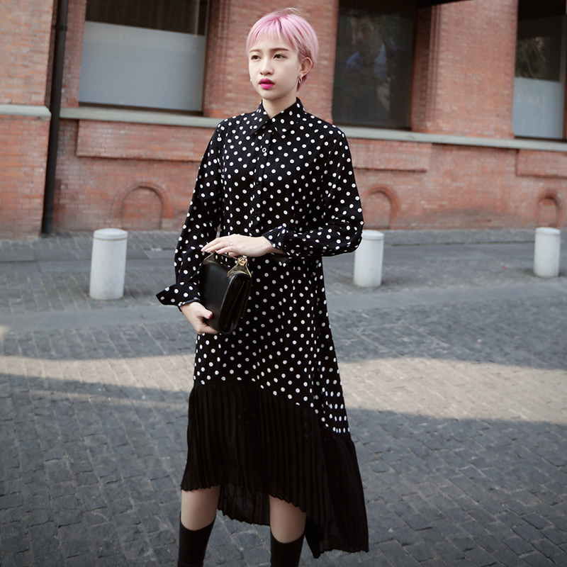 2016 Hong Kong flavor street style chiffon long and short and long sections loose dot print dress hem stitching ago