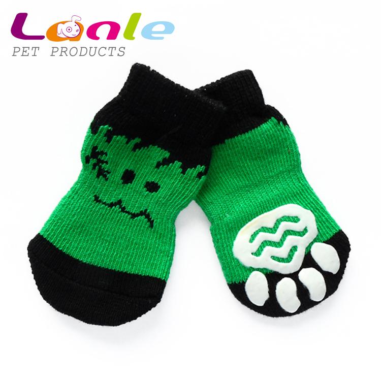 Halloween Pet Clothing Accessories 2015 Warm Cute Puppy Dog Socks Indoor Cat Floor Socks Anti-Slip Footwear 4pcs/set(China (Mainland))